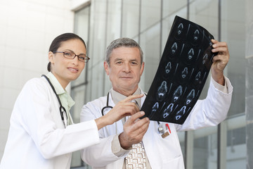 Portrait of doctors looking at x-ray