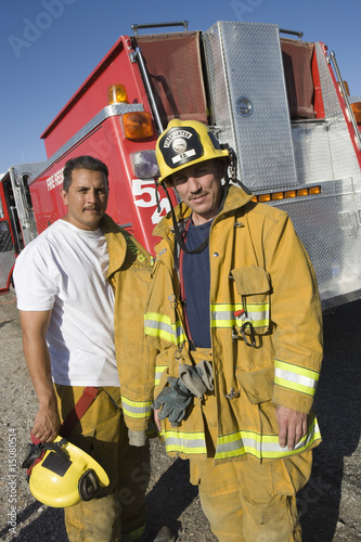 Firefighters and truck