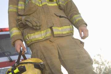 Mid section of a firefighter