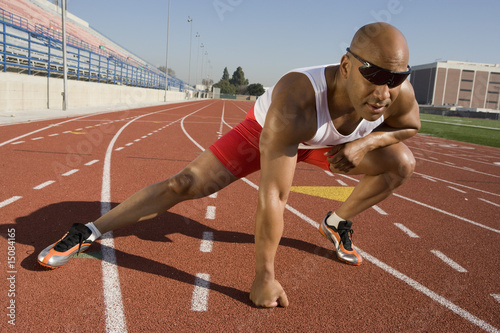 Athlete warming up before run