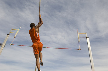 pole vaulted taking off  low angle view
