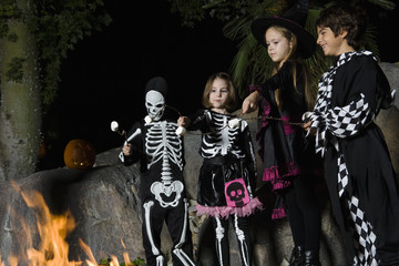 Girls and boys 7-9 wearing Halloween costumes, cooking marshmallows on campfire