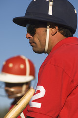 Polo player wearing helmet