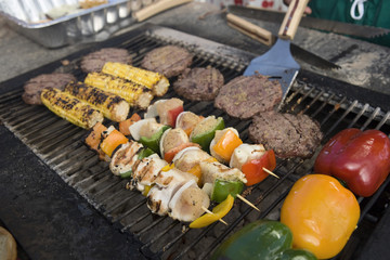 Burgers and Kebabs on Barbecue Grill