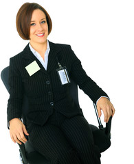 Relaxed Businesswoman Sit On Chair
