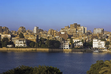 River Nile and colonial mansions in foreground, Gezira island, Cairo. Egypt