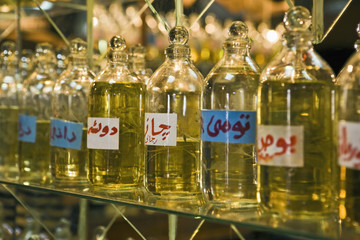 Bottles of essential oils used in perfume making