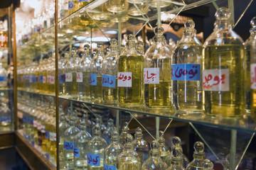 Bottles of essential oils used in perfume making