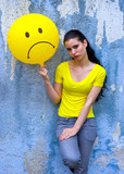 teen girl with sad smiley balloon poster