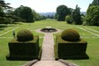 steps. topiary. fountain. garden view. balance in shape