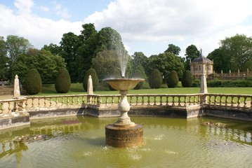 fountain. balustrade. topiary. summer house. pond