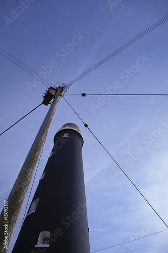 Dungeness, Kent, UK, lighthouse, low angle view