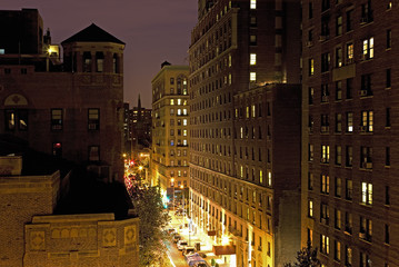 New York City street and housing, elevated view at night