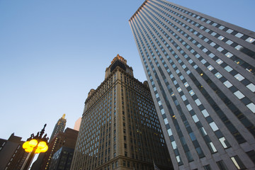 Skyscrapers, low angle view, Chicago, Illinois