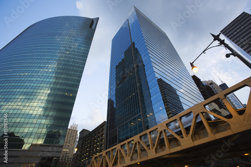 Modern skyscrapers, low angle view, Chicago, Illinois