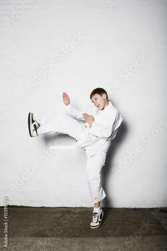 Boy practicing judo
