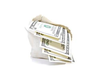 Bag filled dollars.