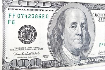 Benjamin Franklin portrait on 100 dollars banknote