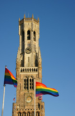 Belfry Bruges with GLBT flags