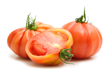 slice tomato on white background