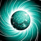 Discoball on shiny blue grunge background. poster