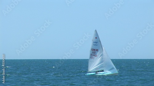 sailing vessel in a sea bay. On Black sea