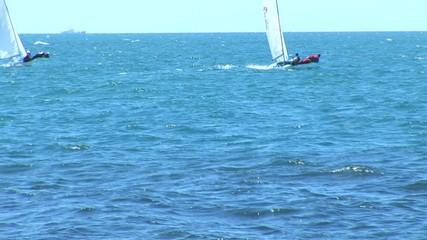 sailing vessel in a sea bay. On Black sea