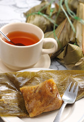 Chinese taditional bamboo leaf dumpling Zongzi