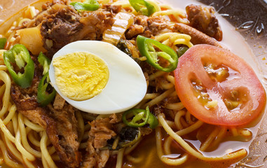 Malaysian traditional spicy noodles close up