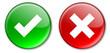 Tick & Cross buttons (green & red)
