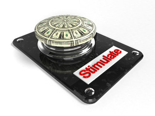Stimulate - button with dollar bills printed on them