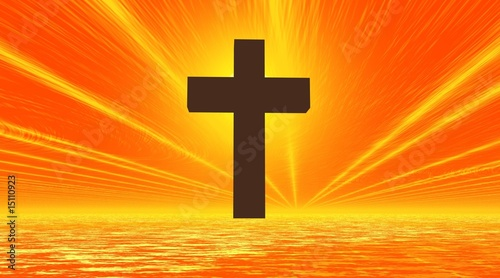 black cross in orange background sky and sea