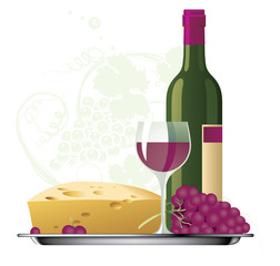 Red wine with grape and cheese