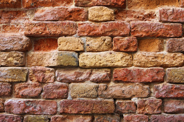 Old cracked red bricks texture