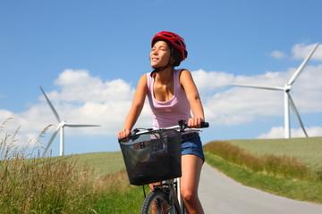 Biking among windmills