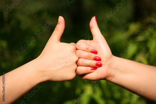 Two hands gives gesture