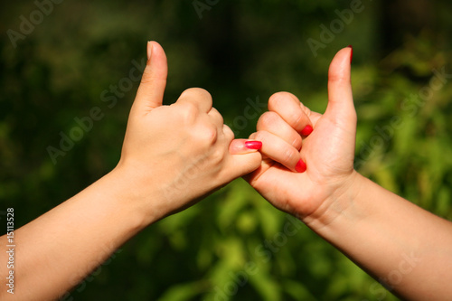 Two joined hands gives gesture