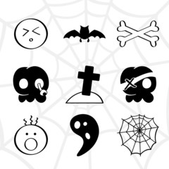 Funny horror elements collection in black and white
