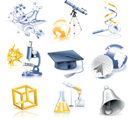 Vector science and education icon set