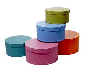 five colorful storage boxes stacked containers