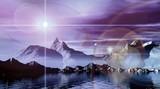Magic glow. Surreal 3D landscape. poster