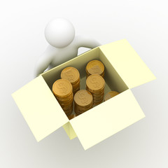 loader hold box with cash. Isolated 3D image