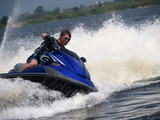 Man on WaveRunner turns left
