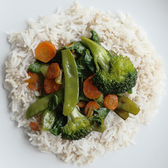 Vegetable Stirfry on bed of rice