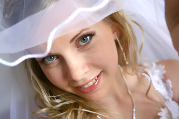 Young beautiful bride under the vail