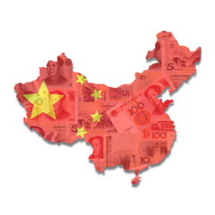 China Map flag with Yuan