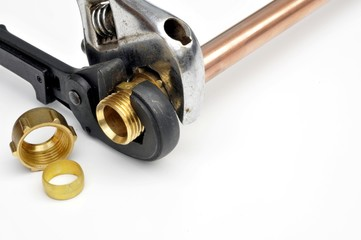 Compression fitting with wrenches