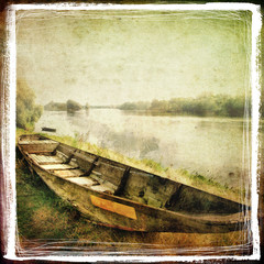 old boat -retro styled picture