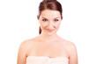 Smiling woman wearing bath towel