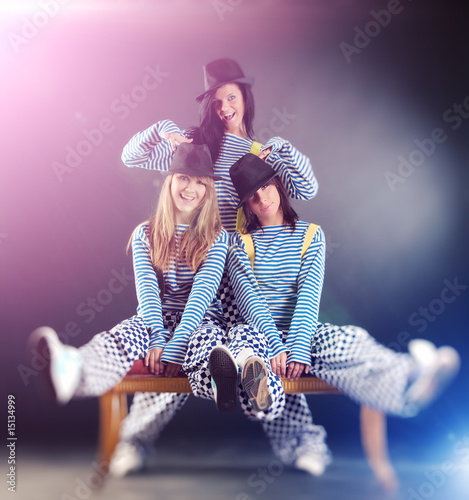 Three young fashion women